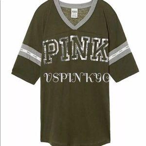 Victoria's Secret Pink Baseball Tee Bling Green